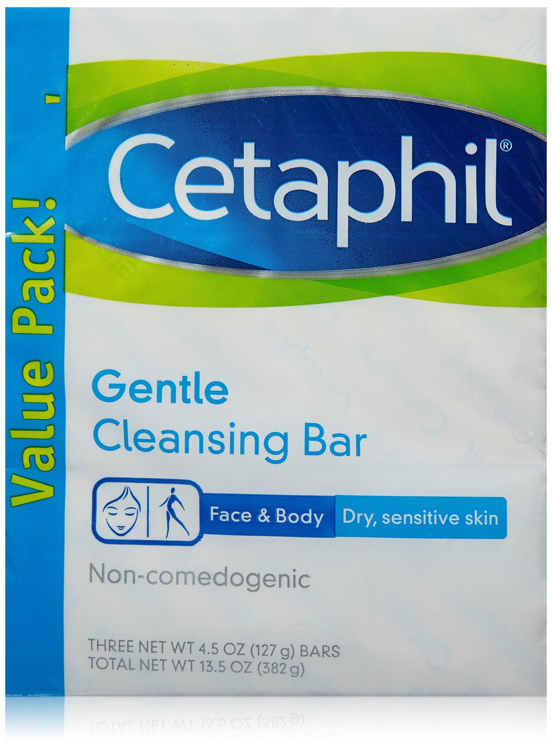Cetaphil Gentle Cleansing Bar, 4.5 oz, 3 Count