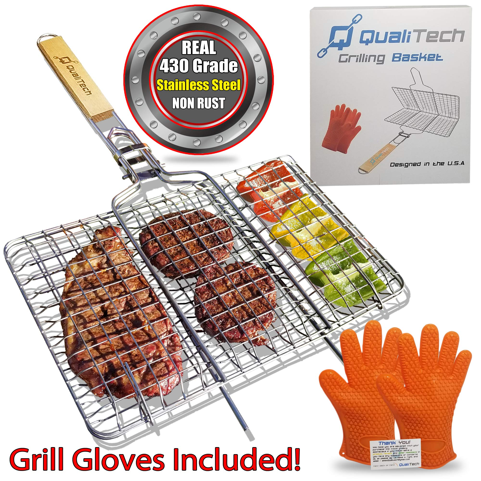Qualitech 430 Stainless Steel Non Stick Folding BBQ Barbecue Portable Grill Grilling Basket with Removable Handle and Gloves Perfect for Fish Steak Meat Vegetables by Qualitech