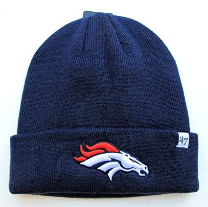 b41b6091 Denver Broncos Navy Blue Cuffed Knit Beanie Hat