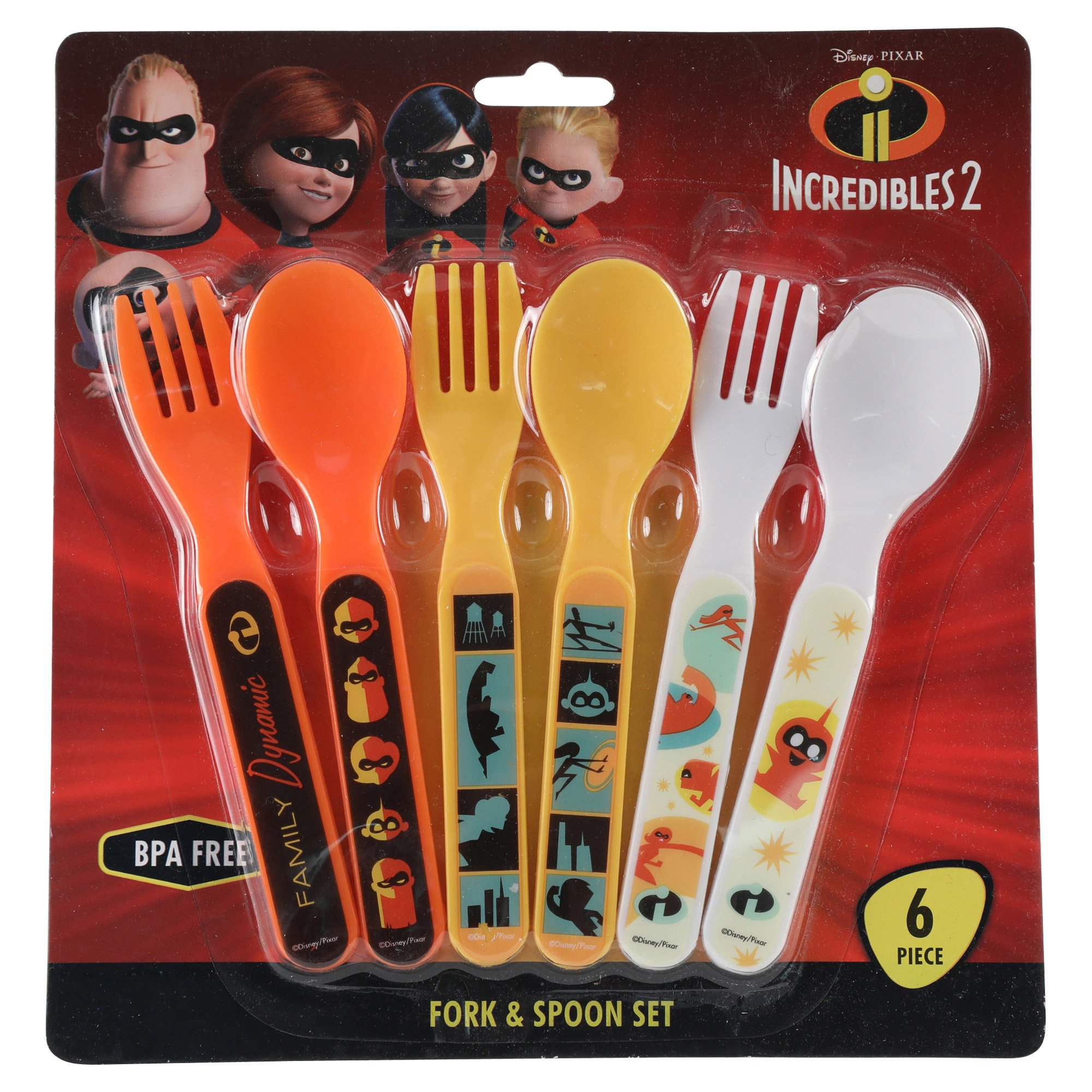 Disney•Pixar Incredibles 2 Fork and Spoon Set, Multi, 6 Count