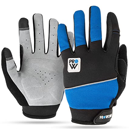 Padded Cycling Gloves, by Proworks [Touchscreen Compatible] for Road Bike, Mountain Biking, Racing & BMX - Unisex - Large - Black & Blue