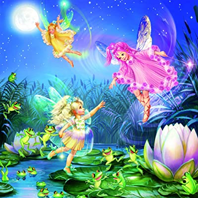 Forest Fairies Glitter - Fairies with Dancing Frogs Jigsaw Puzzle, 100 Pieces: Toys & Games