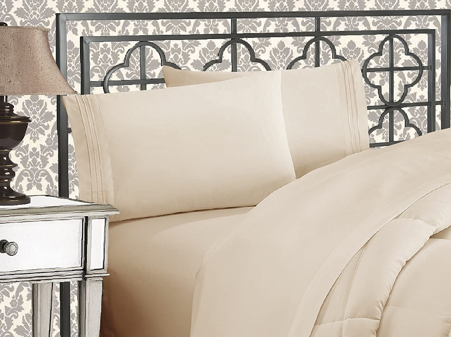 Elegant Comfort Luxurious & Softest 1500 Thread Count Egyptian Three Line Embroidered Softest Premium Hotel Quality 4-Piece Bed Sheet Set, Wrinkle and Fade Resistant Queen Cream