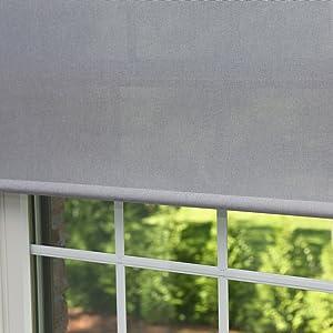 Best Home Fashion Premium Linen Look Roller Window Shade - Grey - 28