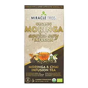 Miracle Tree's Energizing Moringa Infusion - Chai   Super Caffeinated Blend   Healthy Coffee Alternative, Perfect for Focus   Organic Certified & Non-GMO   16 Pyramid Sachets