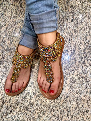 919a5b1b0 Amazon.com  African Sandals - Handcrafted Gladiator Beads Sandals ...