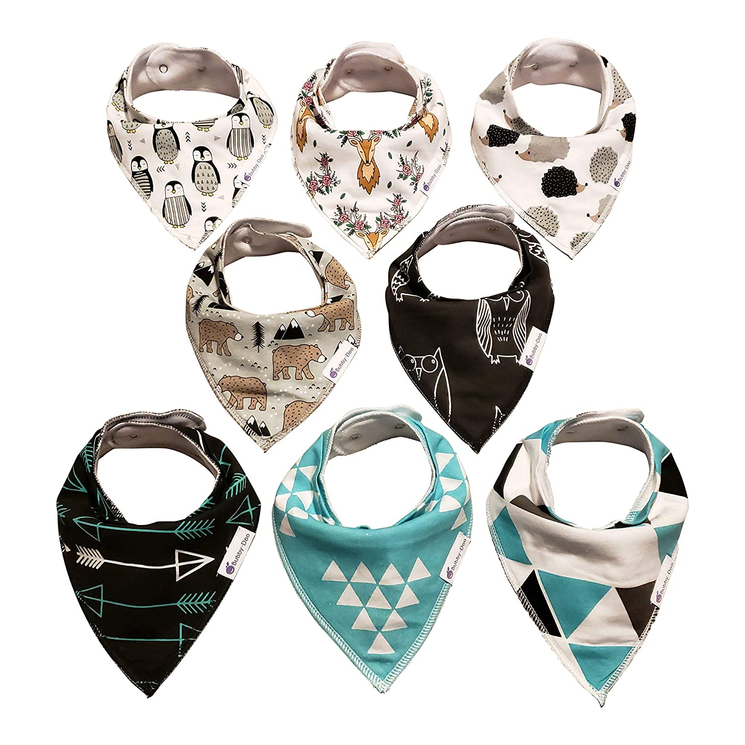 Baby Bandana Drool Bibs by Bubby-Doo Essentials - 100% Cotton for Newborn and Teething Babies or Toddlers - 8 Pack is Unisex for Boys or Girls - Premium Bib Set for Drooling - Neutral Fashion Design