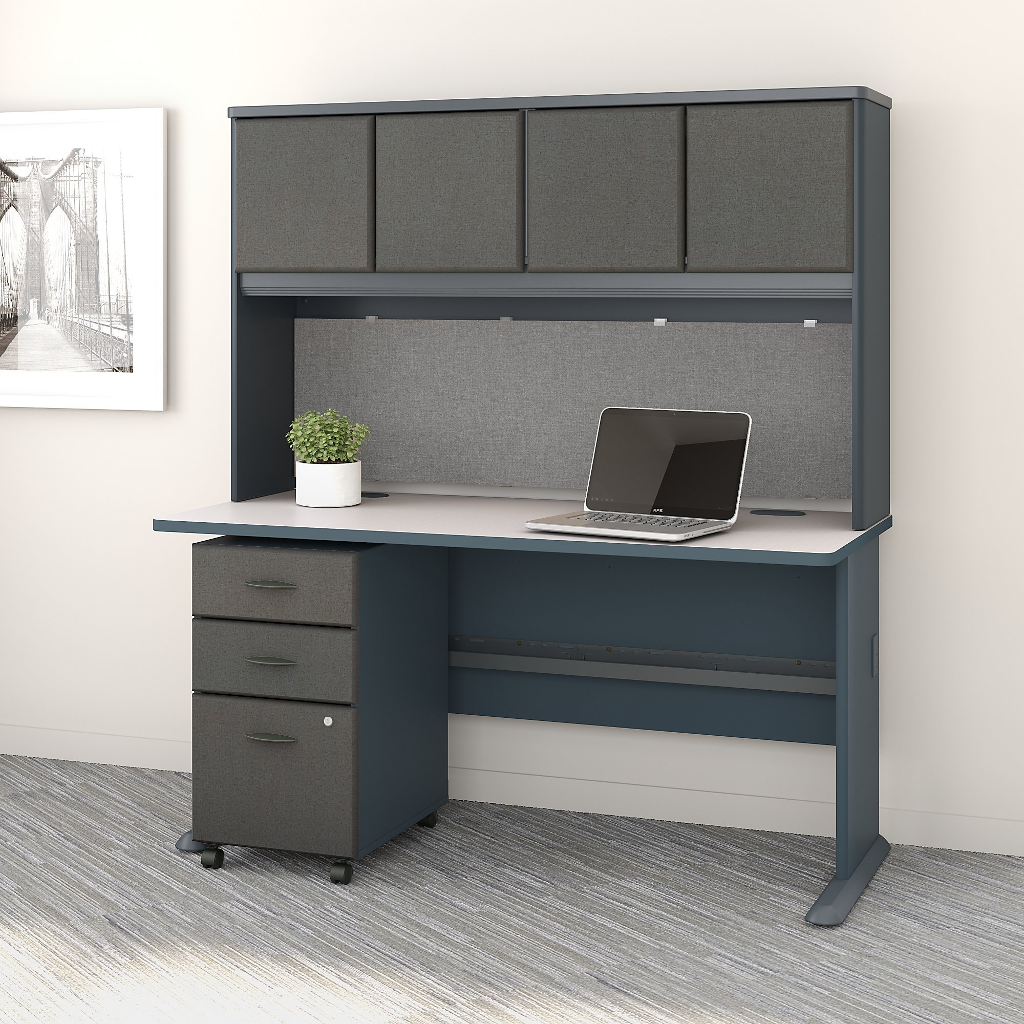 Bush Business Furniture Series A 60W Desk with Hutch and Mobile File Cabinet in Slate and White Spectrum
