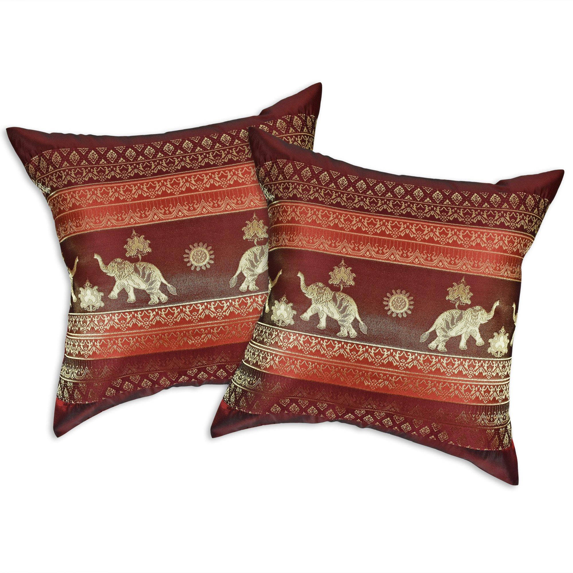 AeraVida Red Wine Thai Elephant Sun Stripes Silk Throw Pillow Cushion Cover Set (Red) by AeraVida
