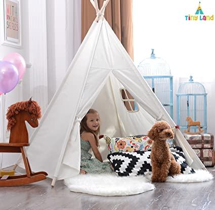 White Canvas Teepee Childrens Play Tent with Window - 100% Cotton Foldable Portable Teepee Tent Playhouse for Kids - Fun Outdoor Indoor Child Play Tent Comes with Floor Mat, by Tiny Land