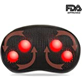 AMEISEYE Pillow Massager Shiatsu Kneading Massager with Heat Therapy for Neck and Back, Suitable for Home Office and Car (Black)