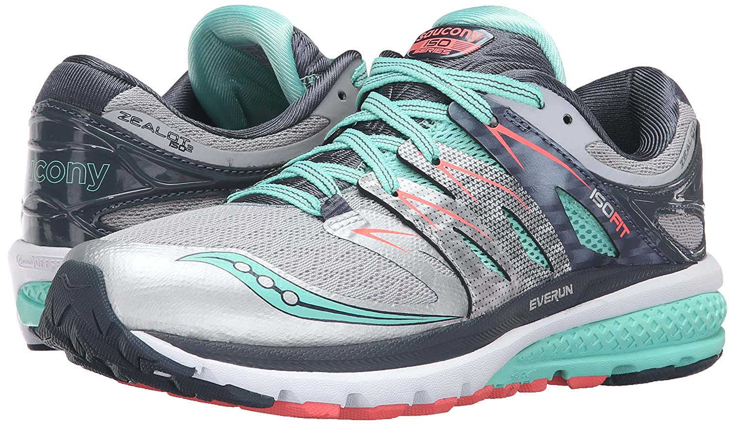 Saucony Women's Zealot Iso 2 Running US|Silver/Mint/Coral Shoe B018EYUSSM 9.5 B(M) US|Silver/Mint/Coral Running 3ceb0b