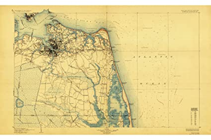 Amazon.com: Map of Norfolk VA, Hampton Roads, Tidewater USGS 1896 ...