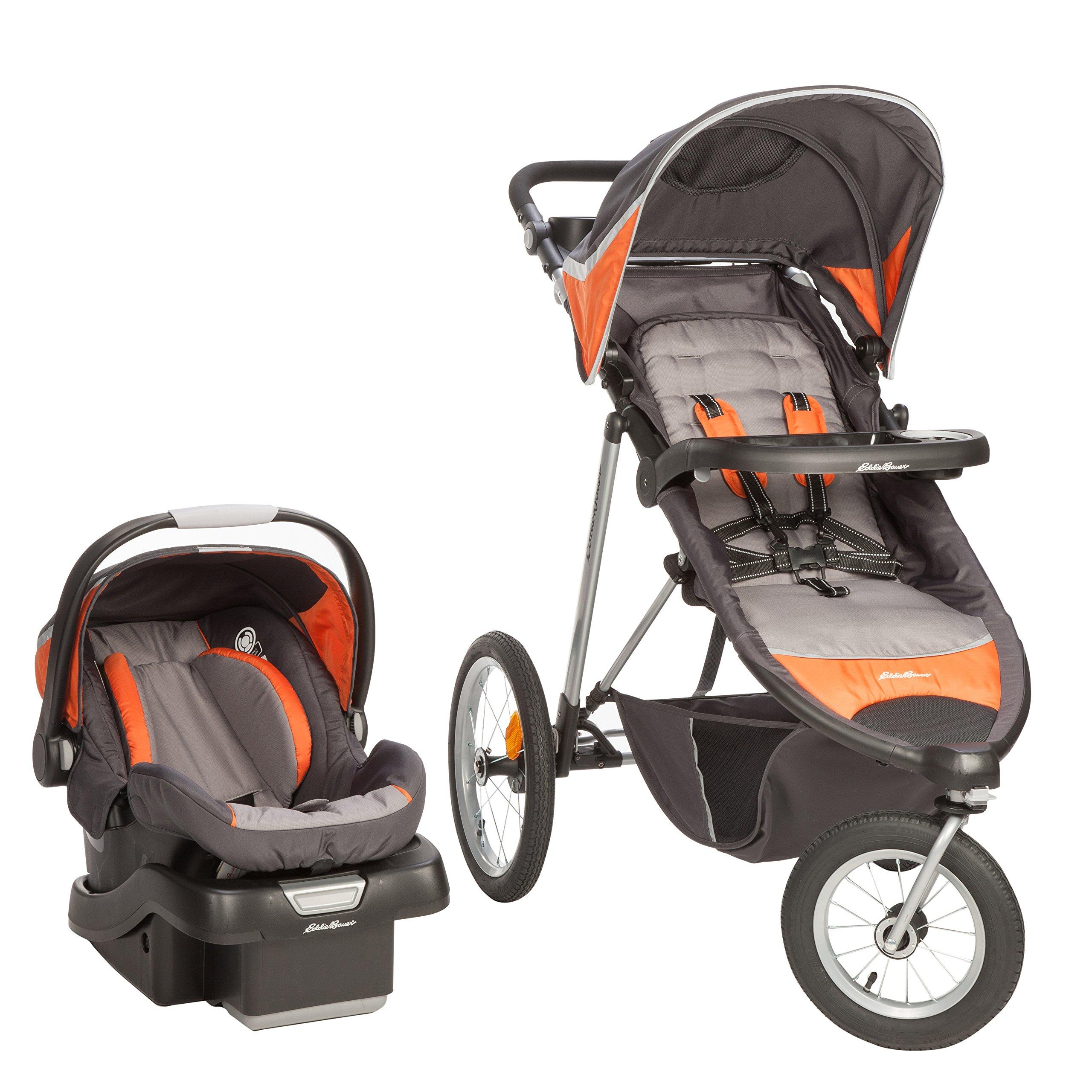 Ed Bauer TrailGuide Jogger Travel System with SureFit Infant Car Seat Blazing Orange