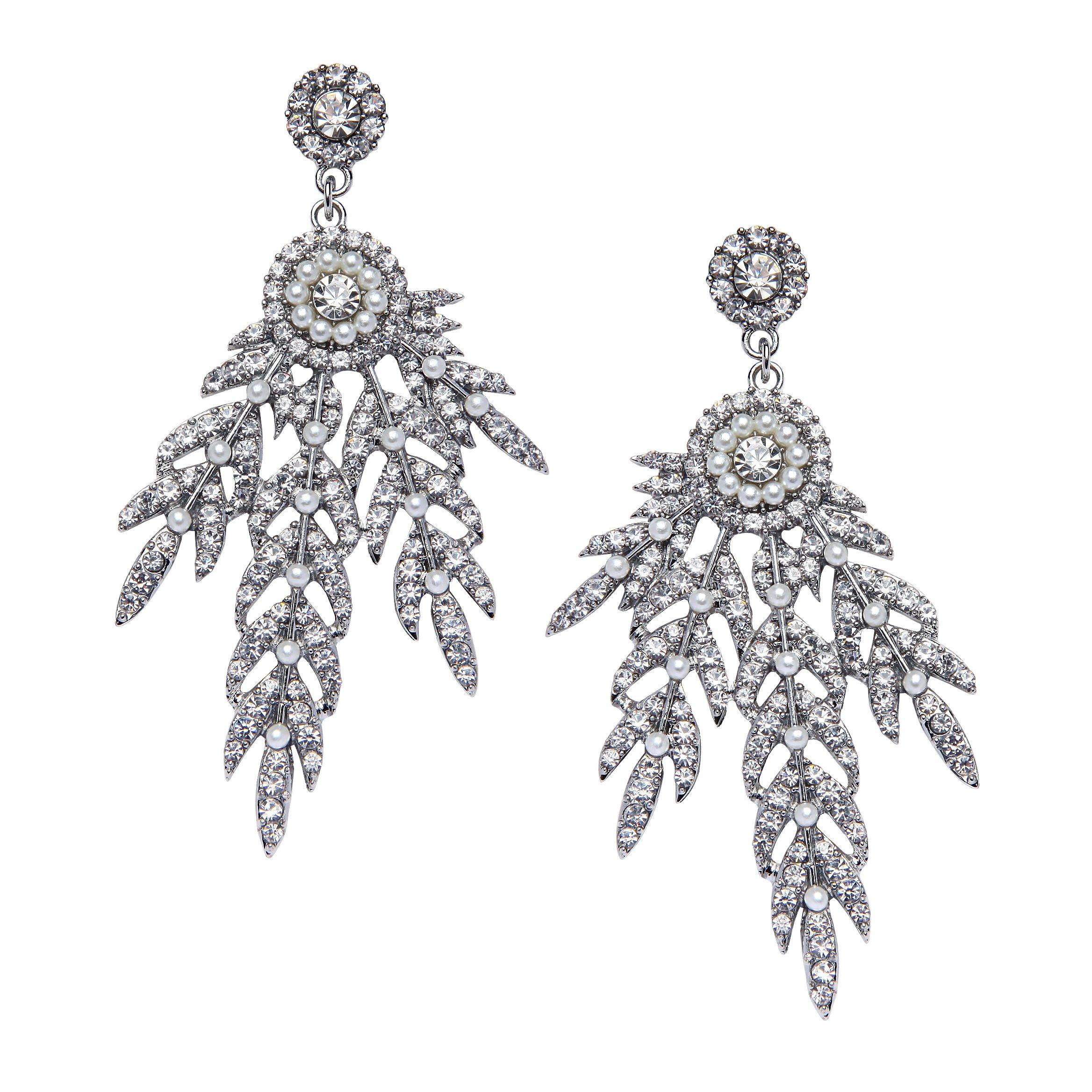 BABEYOND Art Deco 1920's Flapper Great Gatsby Inspired Leaf Medallion Pearl Drop Dangle Earrings (Silver)