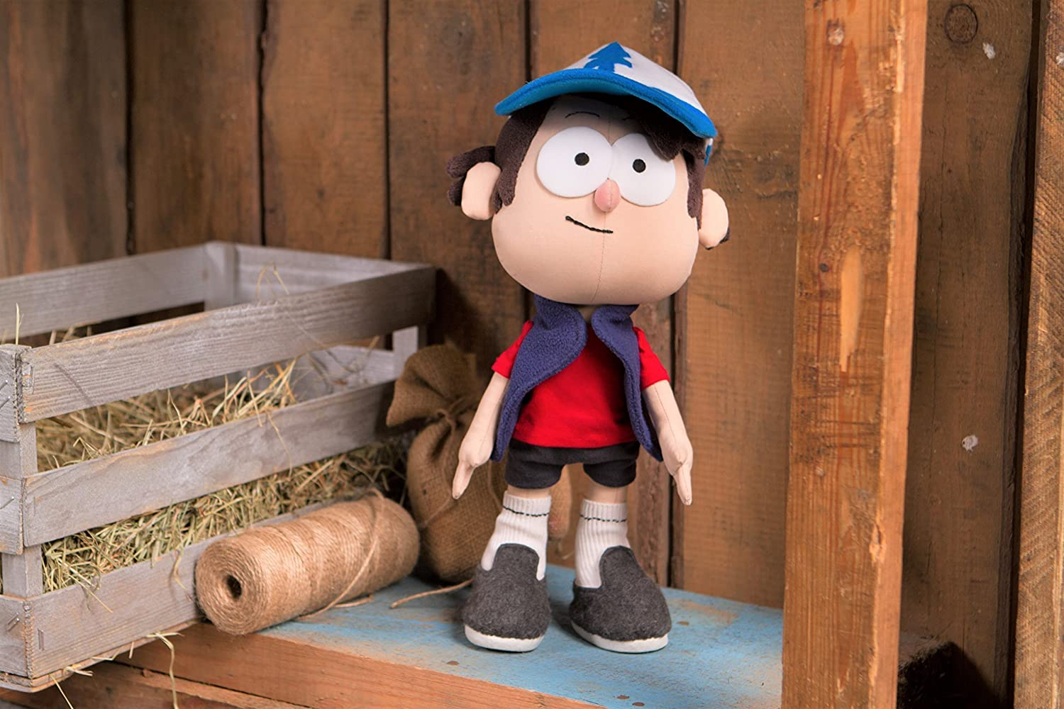 Dipper Pines Gravity Falls - handmade plush doll, 12 in high, sits and stands