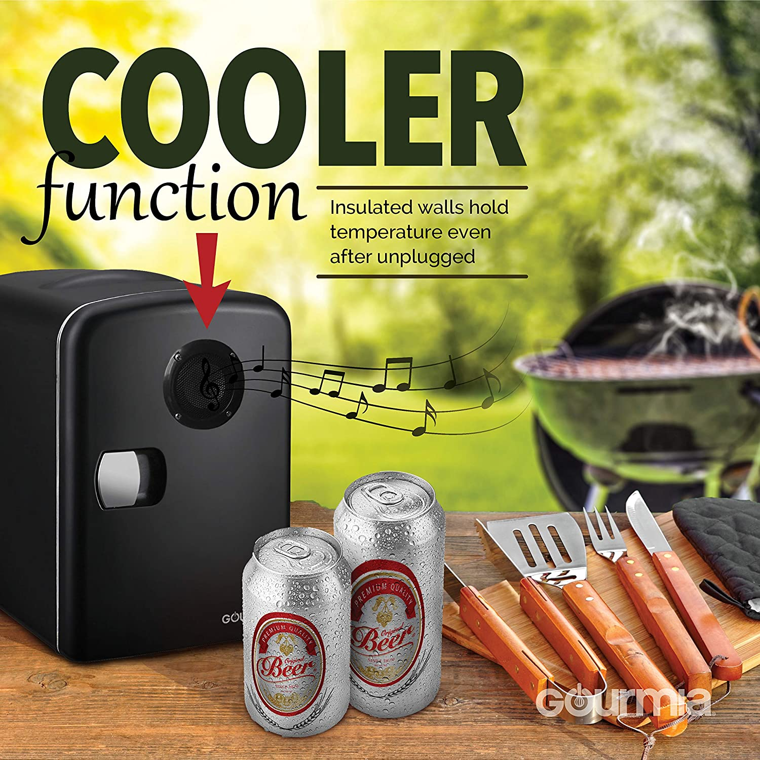 Gourmia GMF668 Thermoelectric Mini Fridge Cooler and Warmer - With Bluetooth Speaker - 4 Liter/6 Can - For Home, Office, Car, Dorm or Boat