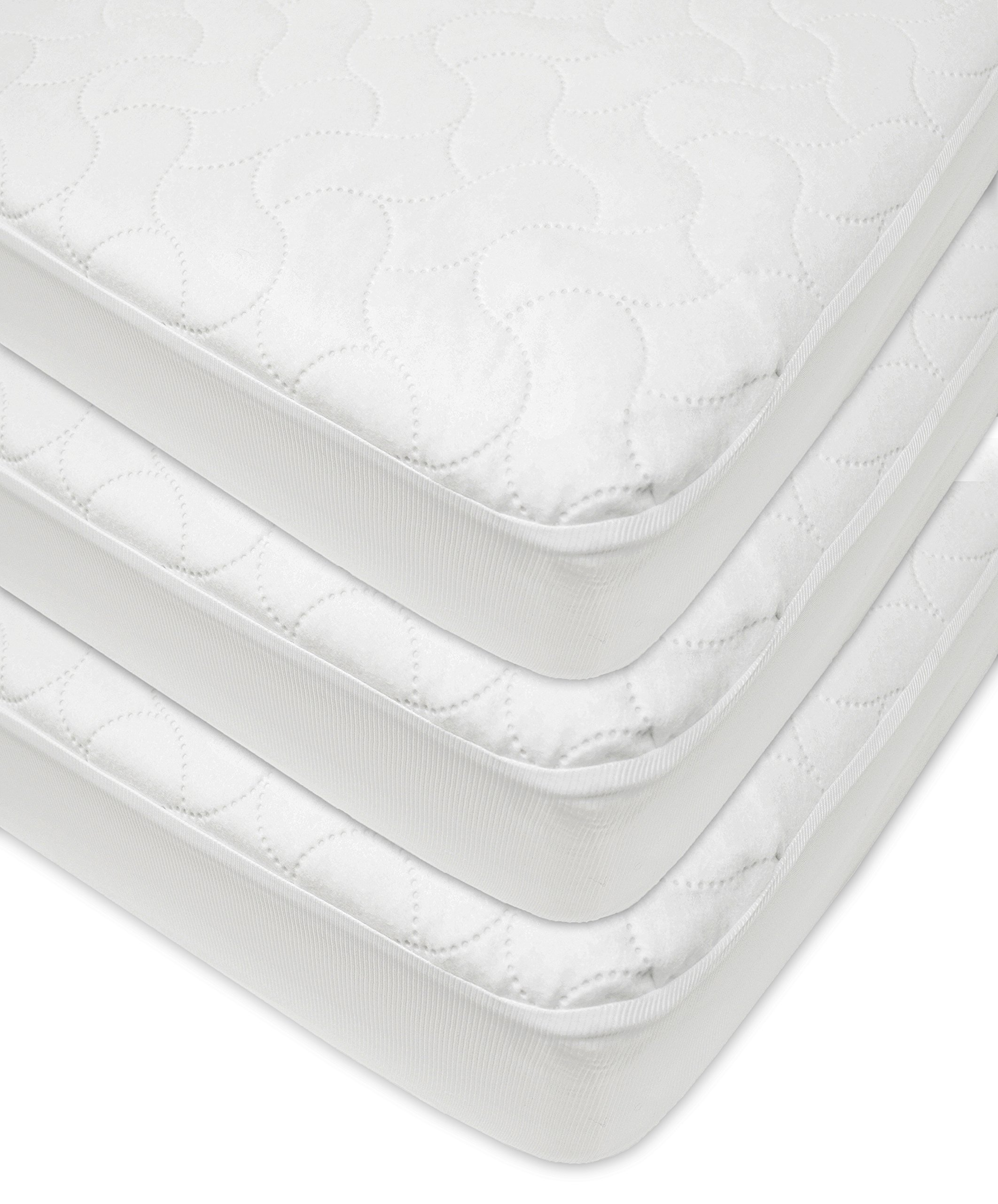 American Baby Company Waterproof Fitted Quilted Crib and Toddler Protective Pad Cover, White, 3 Pack, for Boys and Girls by American Baby Company