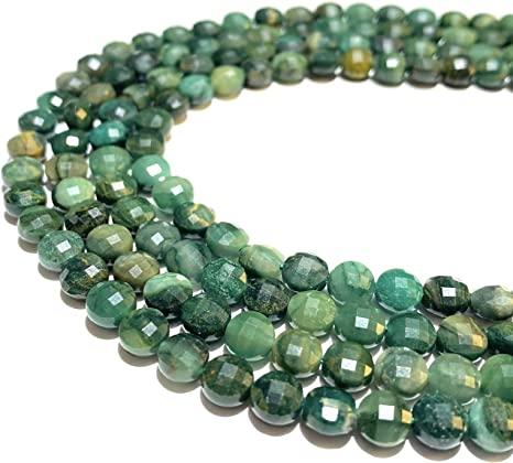 8MM Natural Green Hematite Beads Grade AAA Faceted Round Loose Beads 15/""