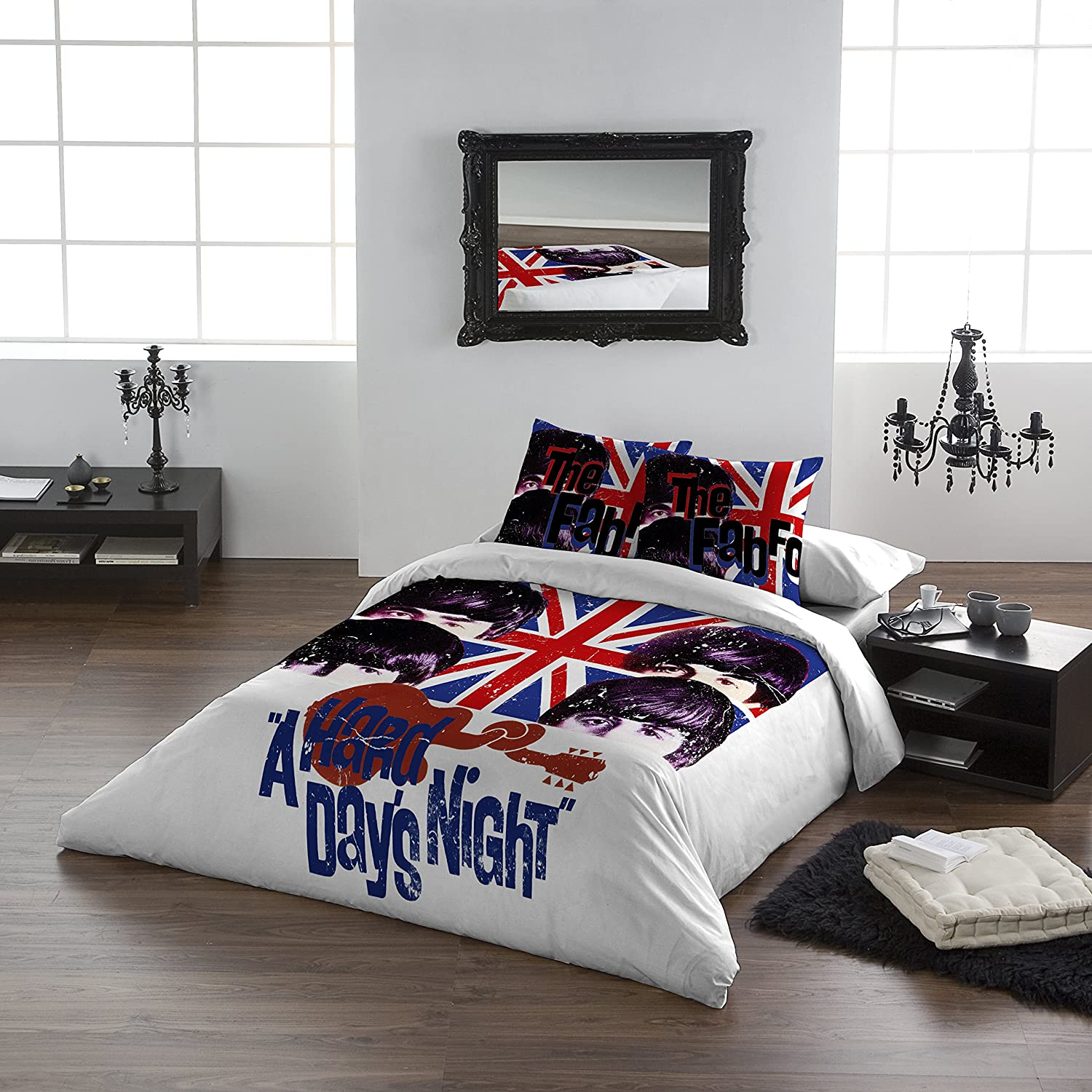 The Beatles - HARD DAY\'S NIGHT - Duvet & Pillowcase Covers Set for  Queensize Bed