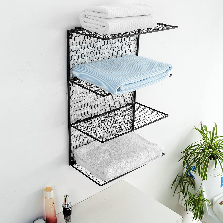 Amazon.com: 4-Tier Wall Mounted Metal Chicken Wire Mesh Bathroom ...