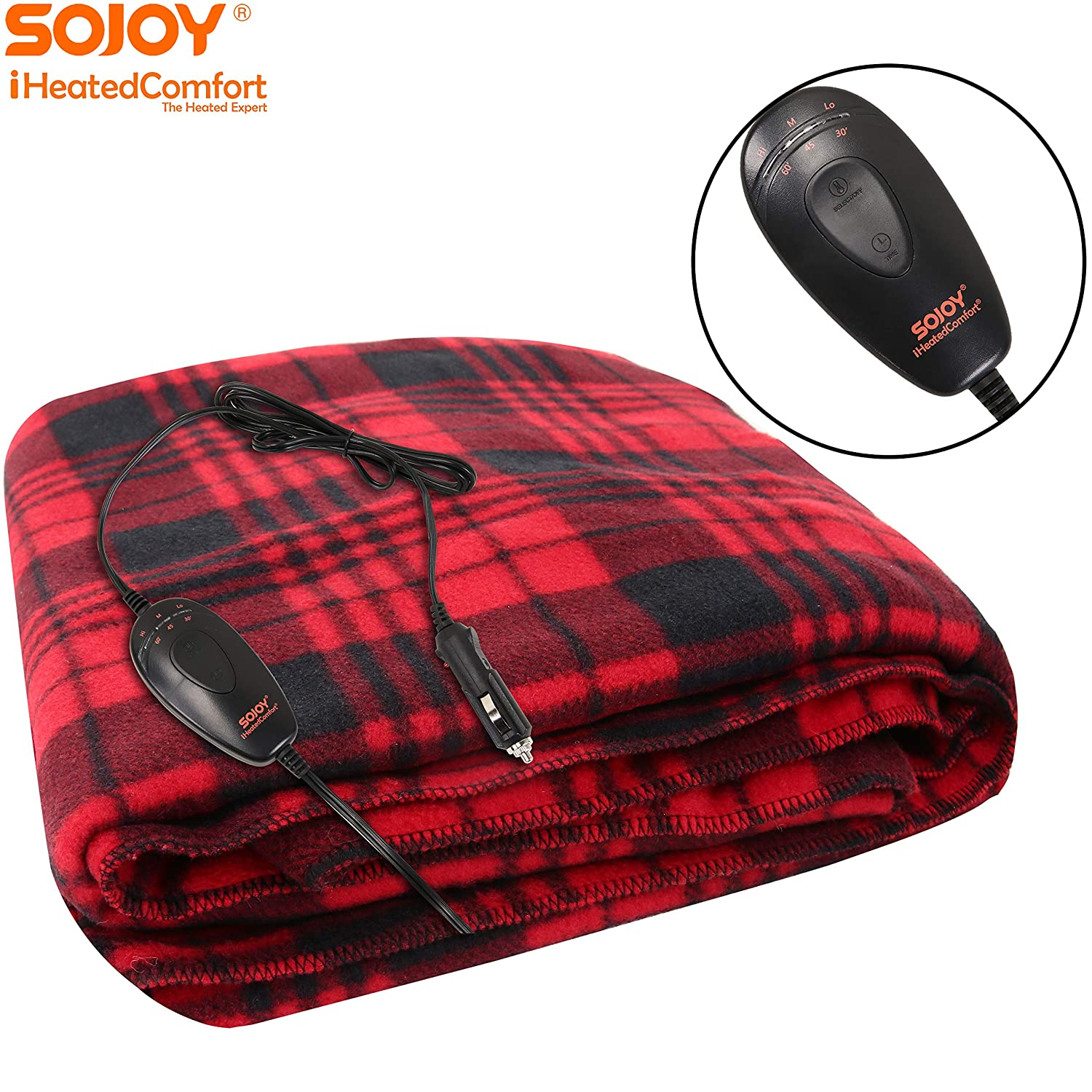 Sojoy 12V Heated Smart Multifunctional Travel Electric Blanket and Heated-Cushion Cover Bundle for Car Boats or RV with High//Mid//Low Temp Control Sojoy Auto Accessories Truck 60x 40 Black /& Checkered Burgundy