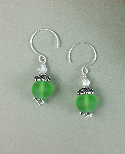 eb26d95e8 Amazon.com: Green Frost Round Sea Glass Crystal Sterling Silver Summer  Beach Earrings: Handmade