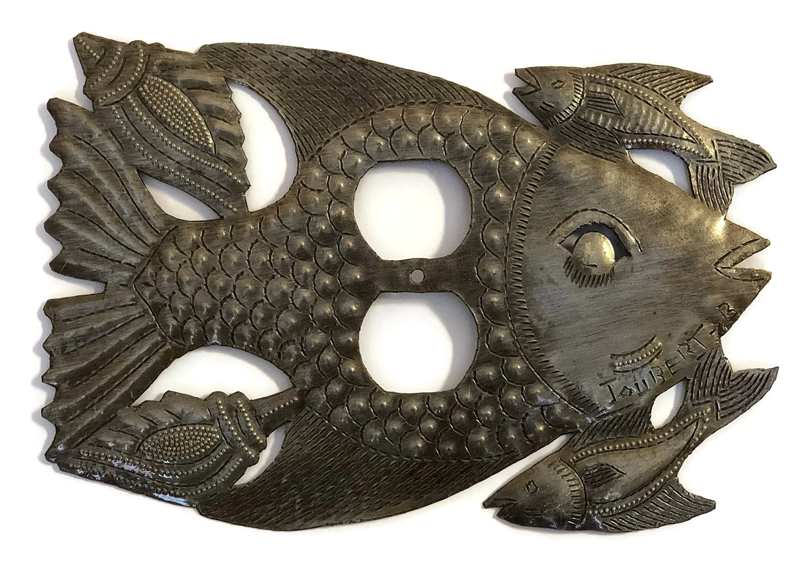 Recycled Metal Plate Cover in Fish Design From Haiti, Artistic Design 9'' x 6''
