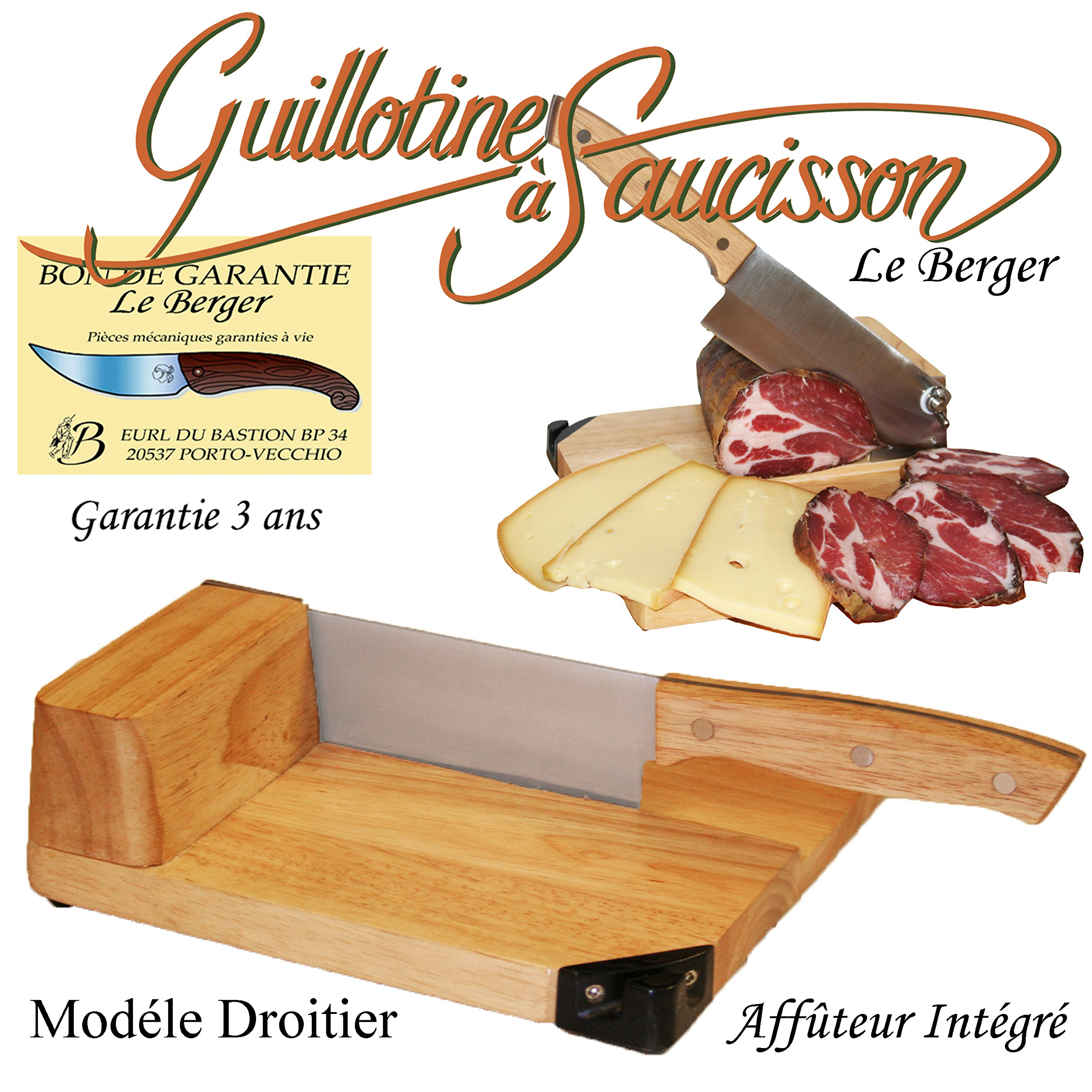 Traditional sausage guillotine slicer Toque Chef 100% french handmade by Le Berger