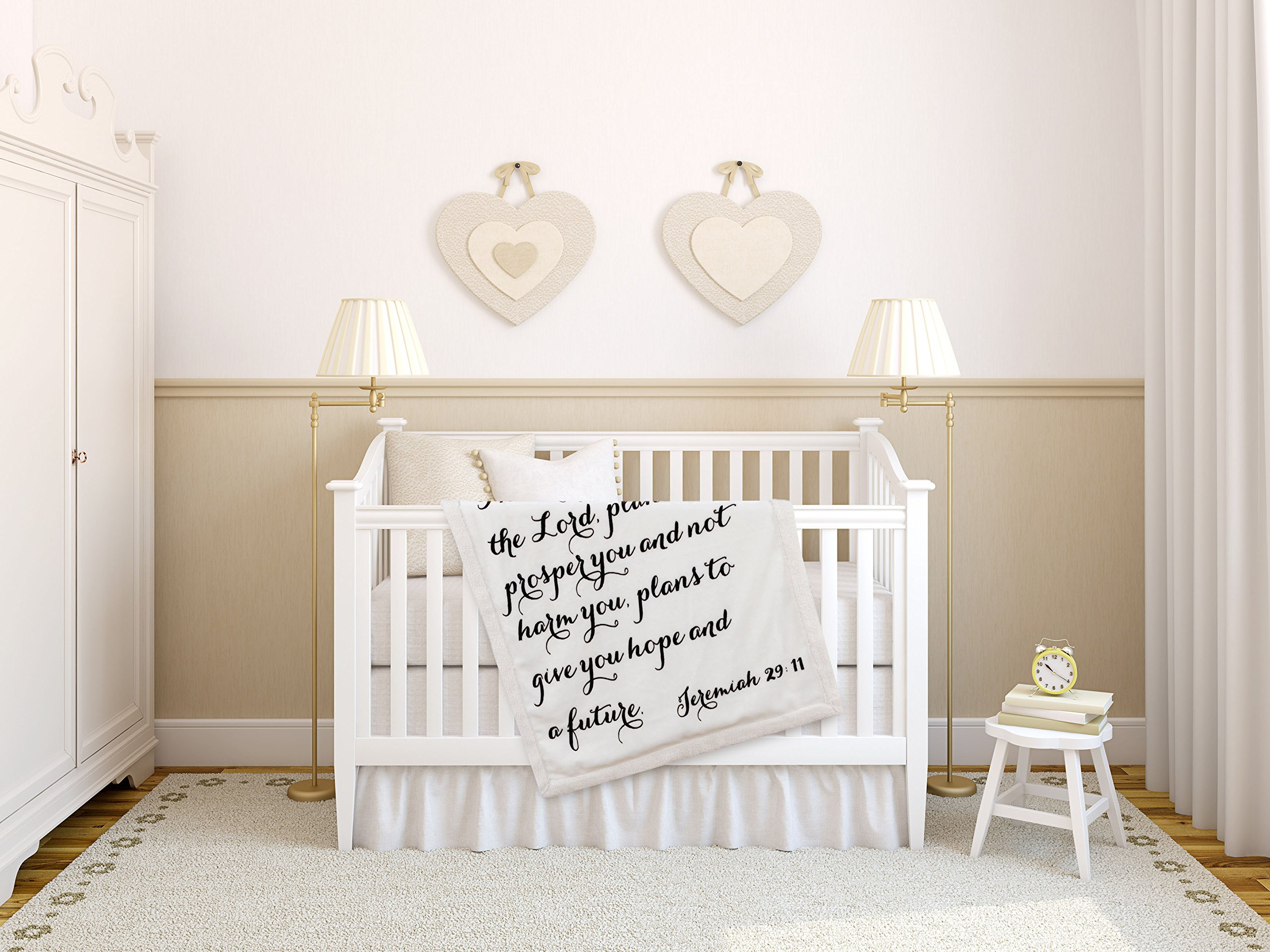 Religious Scripture Throw Blanket for Baby or Children   Jeremiah 29:11   Best Boy or Girl Shower or Birthday Gift   Ivory on Ivory Fleece Sherpa by Scripture Strong (Image #4)