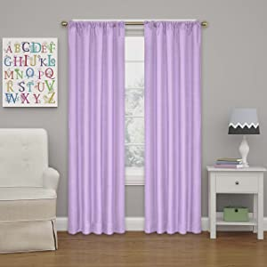 """ECLIPSE Kendall Thermal Insulated Single Panel Rod Pocket Darkening Curtains for Living Room, 42"""" x 84"""", Light Purple"""