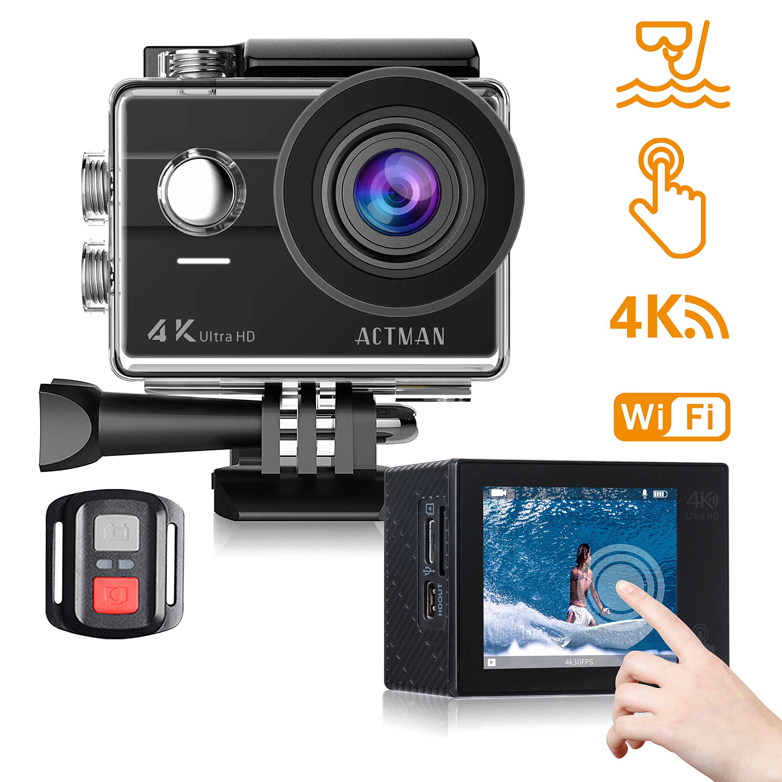 Action Camera 4K ACTMAN Touch Screen 16MP Sony Sensor Underwater Waterproof Camera WiFi Sports Cam with Remote control 2 Batteries and Mounting Accessories Kit Compatible With go pro