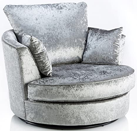 Stupendous Sofas And More Large Swivel Round Cuddle Chair Fabric Crushed Velvet Designer Scatter Cushions Silver Customarchery Wood Chair Design Ideas Customarcherynet