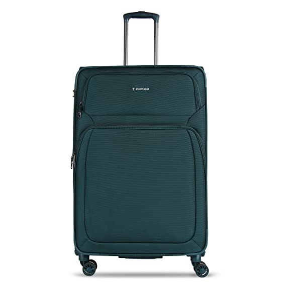 Traworld Denmark Expandable Premium High Grade Polyester Nylon 28 Inch / 71.1 cm Turquoise Soft Sided 4 Wheels Spinner Check in Travel Trolley Luggage