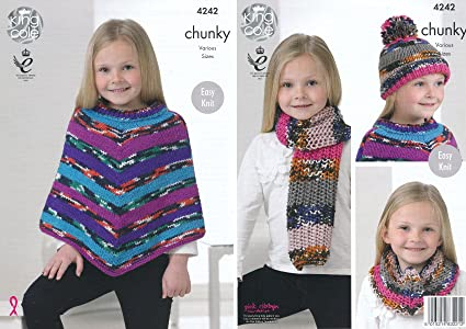 King Cole Girls Big Value Multi Chunky Knitting Pattern Easy Knit Poncho  Snood Scarf & Hat (4242) by King Cole