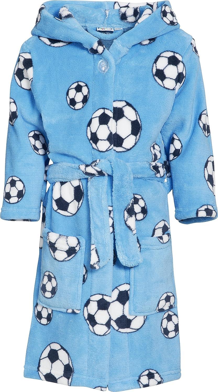 Playshoes Boy's Football Fleece Hooded Bathrobe