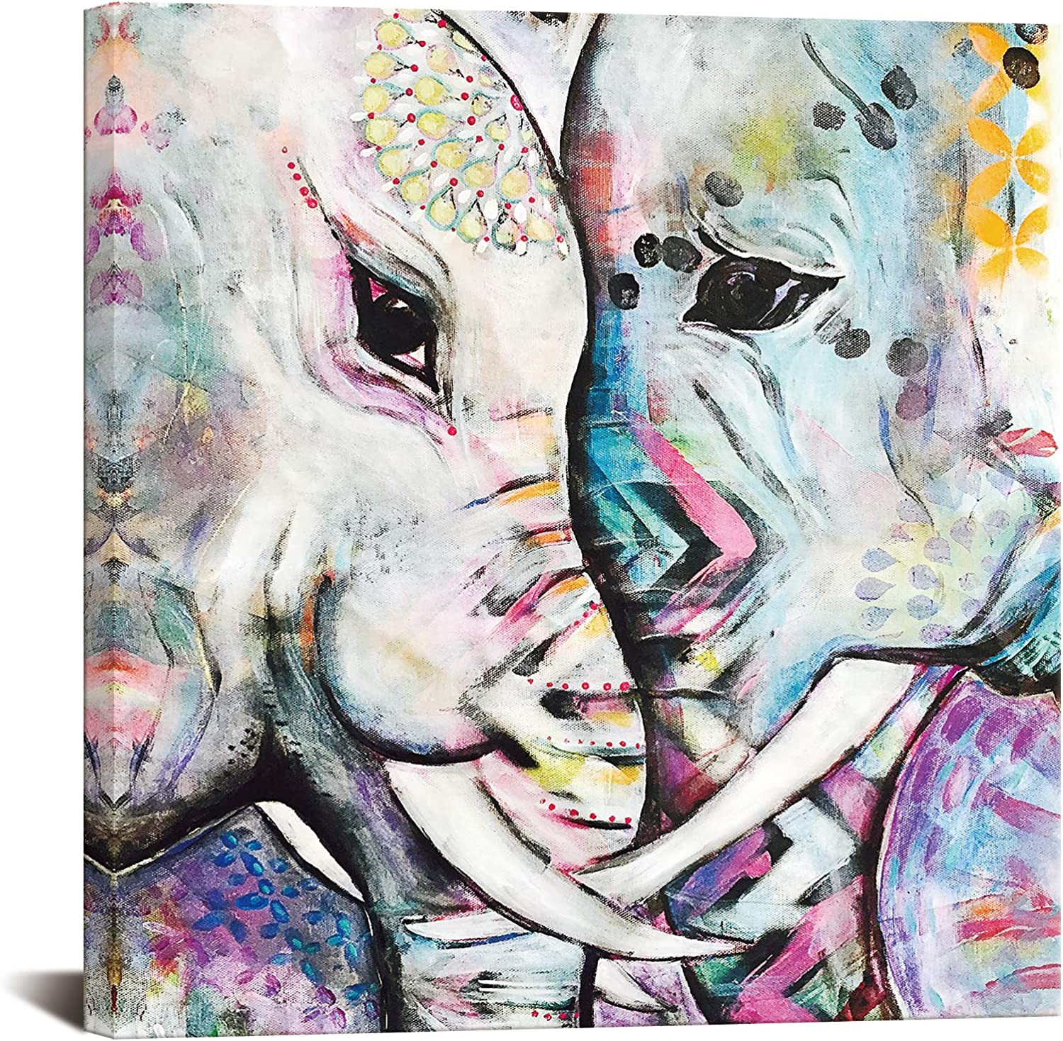 Boho 2 Elephants Face to Face Oil Painting Canvas Wall Art for Living Room Farmhouse Bathroom Wall Decor Abstract Animal Pictures Artwork for Home Walls