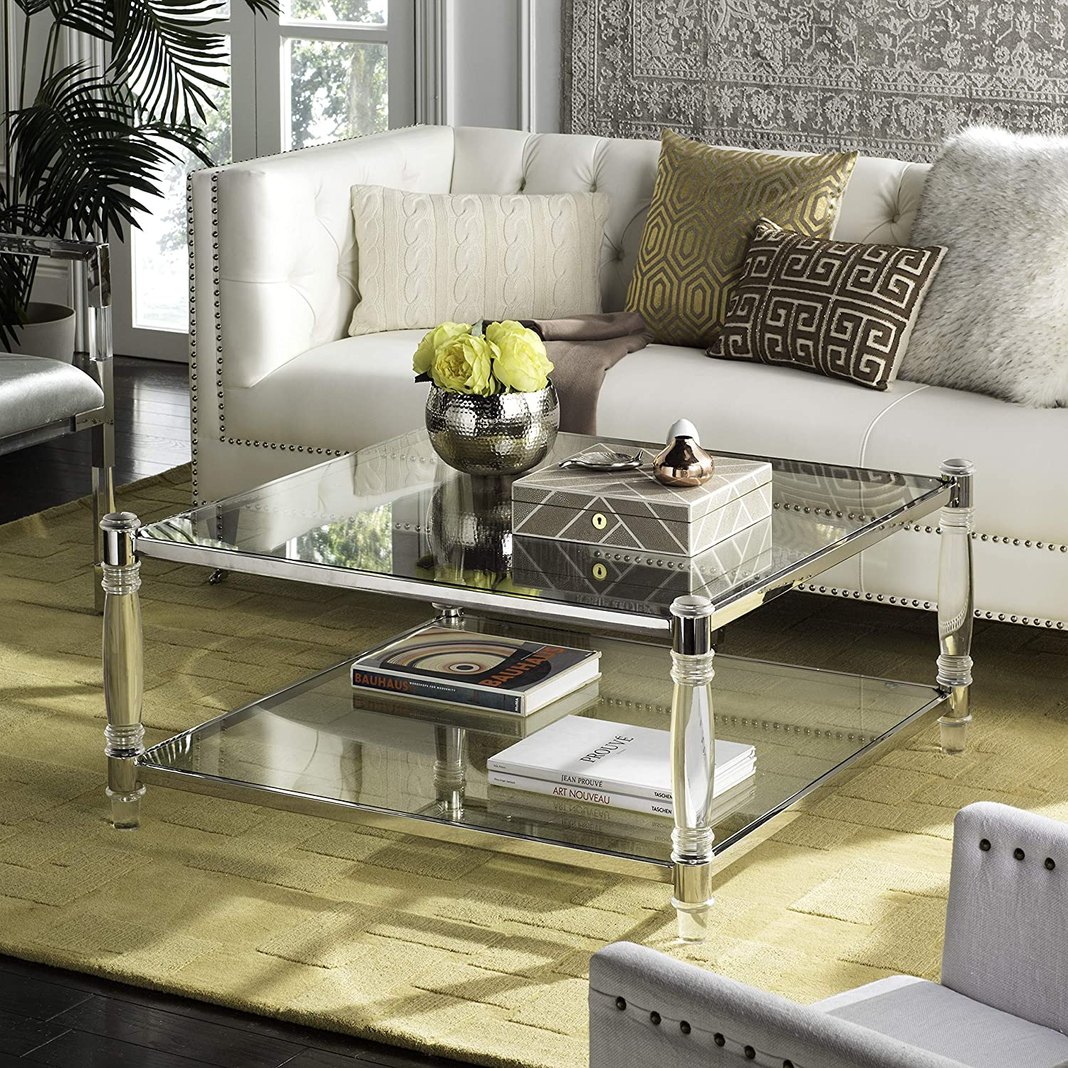 Safavieh Couture Home Isabelle Glam Silver Acrylic Coffee Table Furniture Decor Amazon Com