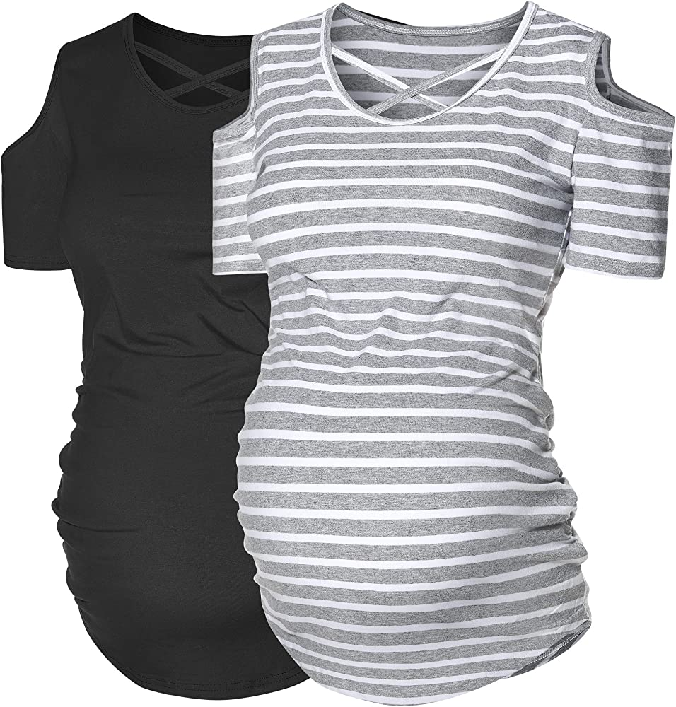 Glampunch Womens Maternity Tops Flying Sleeve T Shirts Side Ruched Mama Pregnancy Clothes