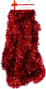 Love It Products 25 Ft. Long Seasonal Holiday Tinsel Garland from Use for Christmas, Thanksgiving, New Years, Birthday and Any Celebration, Party or Event. Color: Red