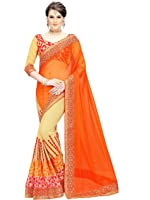 Siddeshwary Fab Women's Orange Faux Georgette And Lycra Embroidered Saree With Blouse Piece ( orange )