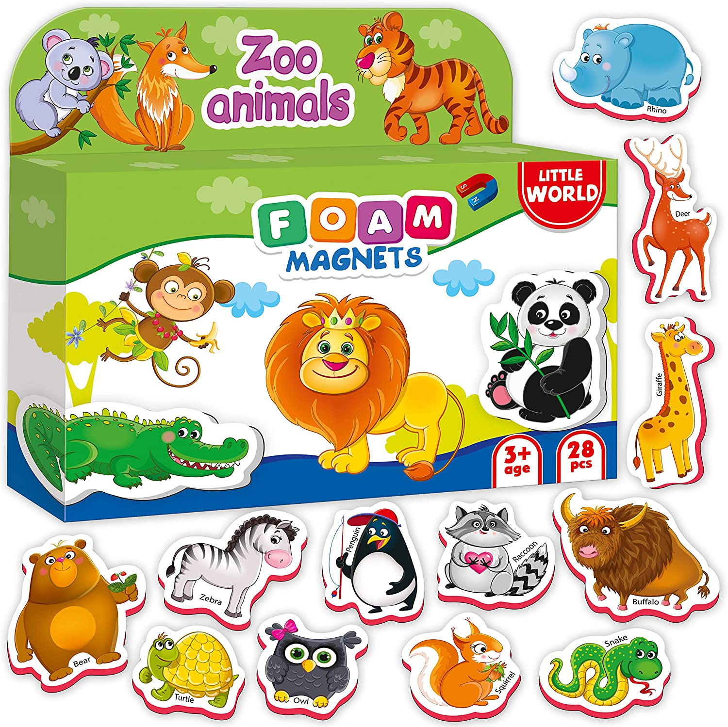 Little World Foam Fridge Magnets for Toddlers Age 1 2 3 - Refrigerator Magnets for Kids – Large Baby Magnets Toy – Set of 28 Magnetic Animals for Toddler Learning – Safe Kids Magnets: Toys & Games