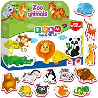 Little World 28 Foam Magnetic Animals for Toddlers and Babies, Large Refrigerator Magnets for Kids Age 3+. Best Educational Set for Children's Learning