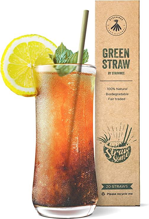Compra Strawmee Green Straws, paja de hierba natural, estable ...