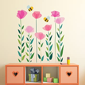 Amazon Pink Flowers Wall Decal Bees And Flowers Wall Stickers