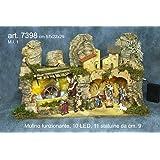 Presepe completo con mulino luci e 11 statuine fatta a mano in ITALIA cm 57x22x29