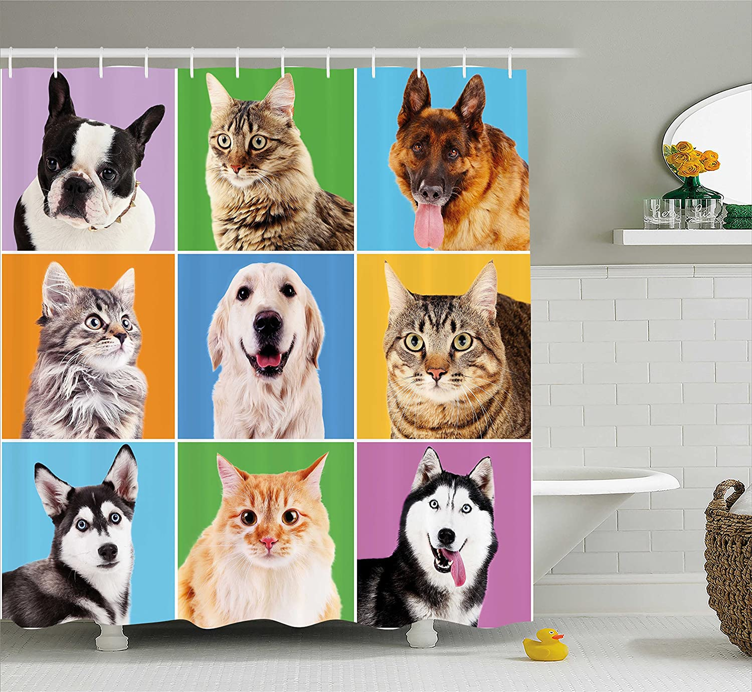 Ambesonne Animal Shower Curtain By Cute Various Dog And Cat Portraits Puppies Kittens Pet Company Funny Humor Design Fabric Bathroom Decor Set With Hooks