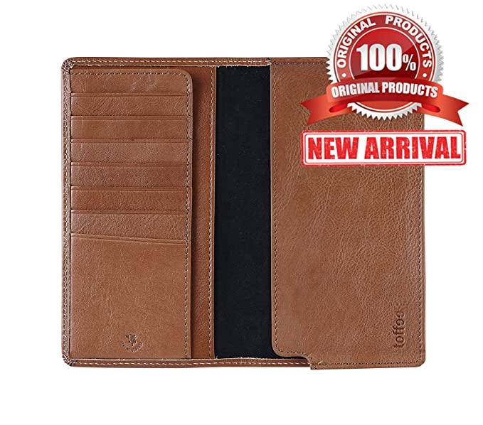 low priced 2071a a4df2 Toffee Genuine Leather iPhone Wallet Case Credit Card Holder Hard Sleeve  Case Slim Fit Flip Cover Protective Shell with Flap, Tan