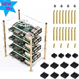 Jun_Electronic 4 Layers Clear Stackable Case For Raspberry Pi 3 Model B+ Case With Heatsink For Raspberry Pi 3