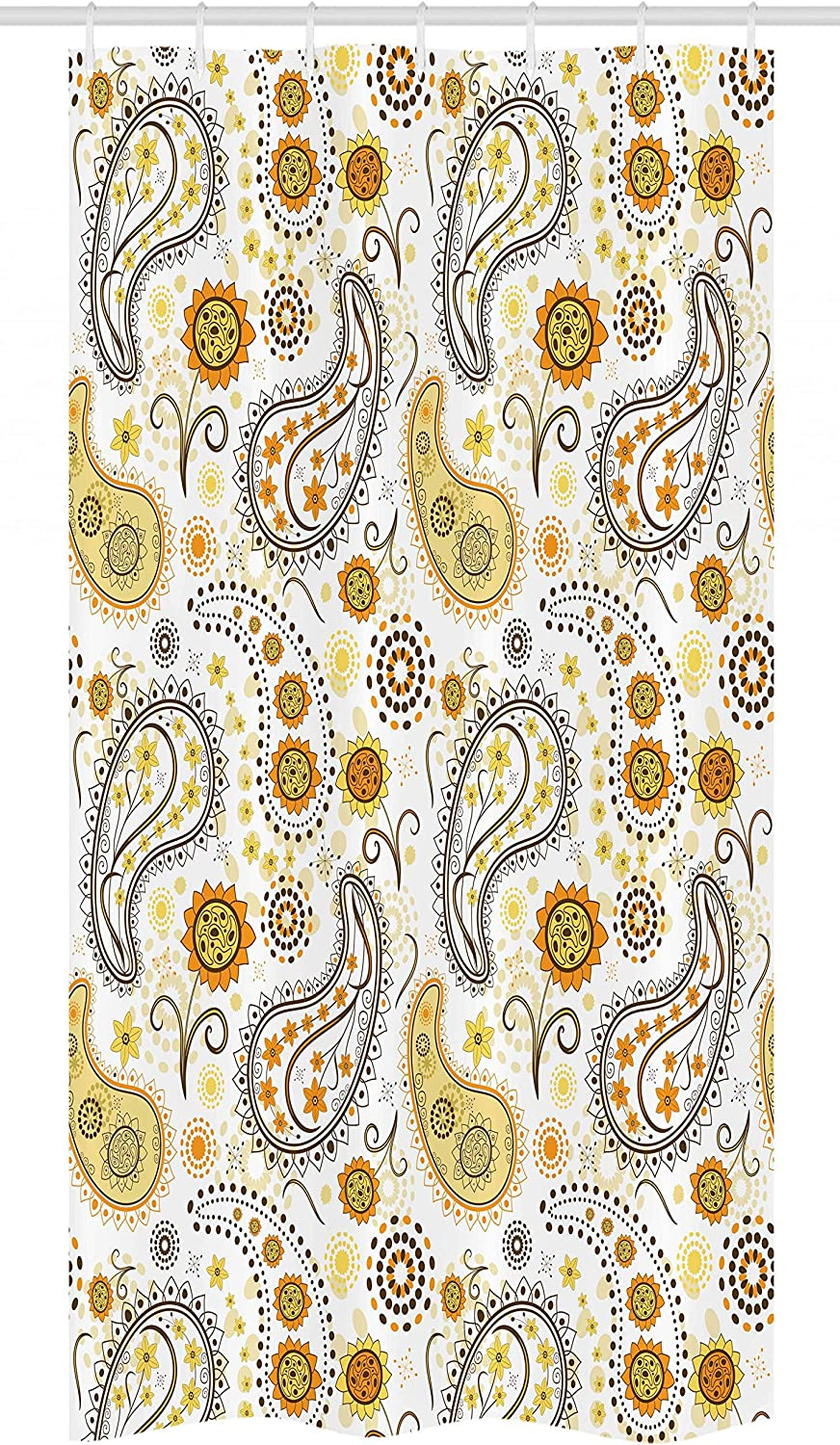 Ambesonne Sunflower Stall Shower Curtain, Floral Pattern with Sunflowers and Paisley Vintage Boho, Fabric Bathroom Decor Set with Hooks, 36